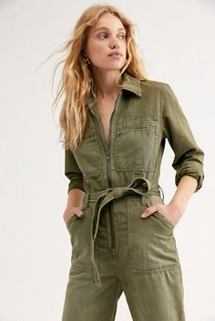 Charlie Coveralls by Free People Denim, Color, US 4 Super Flare Jeans, Boiler Suit, Denim Overalls, Future Fashion, High Jeans, Fashion 2020, Jumpsuits For Women, Free People, Military Jacket