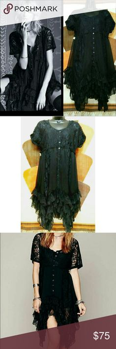 NWT FREE PEOPLE Boho Prairie Lace Ruffles Dress Brand New with Tags NWT FREE PEOPLE Boho Lace Prairie Ruffle Dress. Lined with a slip. Size XS (will likely fit a small). Empire waist with ruffle trim. Lace panels around front and back of bodice. Buttons down front skirt. Excellent condition. Brand new with tags NWT Free People Dresses