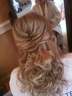 Wedding Hair half up style with woven detail.