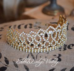 Vintage Rhinestone Crown Tiara Pageant Crown by edithandevelyn on Etsy