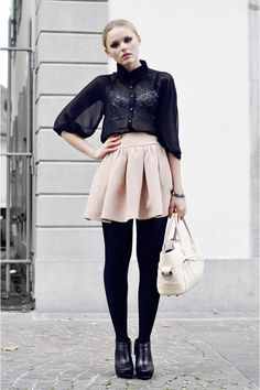love the skirt and the bra!  great idea with all black ensemble