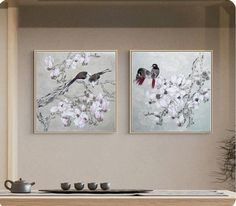 Bird couple on magnolia blossom branches, authentic Hand-painted 花鳥畫, Fine-brush Bird-and-flower painting, scholar-artist style, kachō-e Ink wash painting, Fine-brush, Flower-and-Bird, Bird Paintings, flower painting, Chinese painting, Song dynasty, birds on branches, refined Chinese art, original painting, royal court, fine detail, blossom painting Watercolor Paintings For Sale, Bird Paintings, Watercolor Walls, Original Paintings, Asian Wall Decor, Asian Wall Art, Chinese Painting, Chinese Art, Hanging Flower Wall
