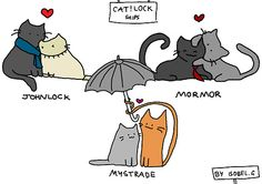 Cat!lock ships by *unicornchick So Ive decided to draw the three most (in my opinion) common/popular Sherlock ships as cats. Enjoy ;) I think I will make more Cat!lock drawings like this one. Because of reasons. Please dont repost this. Reblog it if you like it :)