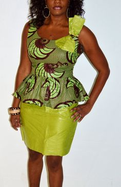 African Dress Ankara Dress Green Dress Traditional by ZabbaDesigns African Attire, African Wear, African Women, African Dress, African Tops, African Style, African Inspired Fashion, African Print Fashion, Africa Fashion