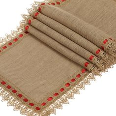 """Ling's moment 12""""x48"""" Burlap Hessian Table Runner Jute Table Cover for Rustic Country Outdoor Wedding, Kitchen Décor Farmhouse Decoration"""