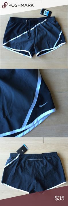 Nike Running Shorts NWT | Black Gray | M New with tag. Non-stretchy material with black and dark gray diagonal design, with black underwear liner. Drawstring ties in front, open pocket right back on the liner, zippered pocket at middle back. 100% polyester. Approximately 11 inch length at middle front of thigh. Machine wash cold, tumble dry low. Smoke-free/pet free home, no trades. Nike Shorts