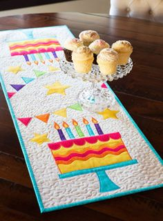 Many Happy Returns Birthday Theme Table Runner Project... Fons & Porter ... July/August 2015