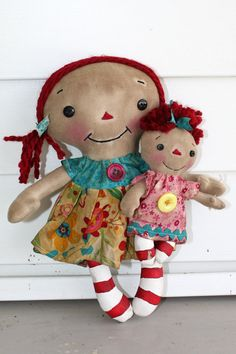 Bright Colors Mommy and Baby Annie  Primitive by HeartstringAnnie, $27.00