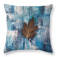 Throw Pillows - A flying leaf in rainy day Throw Pillow by Kathleen Wong