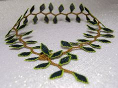 Lace leaf necklace emerald green jewelry vine by LandofDante
