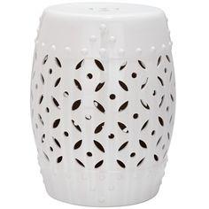 Safavieh Paradise Treasures White Ceramic Garden Stool - Free Shipping Today - Overstock.com - 15132305