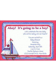 Sailboat Toy Baby Shower Invitation l Baby Shower Invites | Boys Baby SHower Invitations | sailboat toy nautical red blue | BSI129