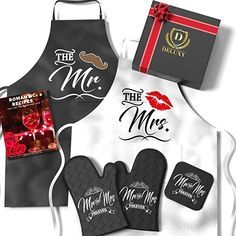 Amazon.com: Mr & Mrs Aprons For Happy Couple - Memorable Bridal Shower Gifts For Bride, Engagement Gifts For Her, Wedding Gifts For The Couple- Romantic Recipe Book, Oven Mitts & Potholder…: Clothing Bridal Shower Gifts For Bride, Unique Wedding Gifts, Bridal Gifts, Handmade Wedding, Bridal Showers, Wedding Ideas, 11 Year Anniversary Gift, Anniversary Gifts For Couples, Wedding Anniversary