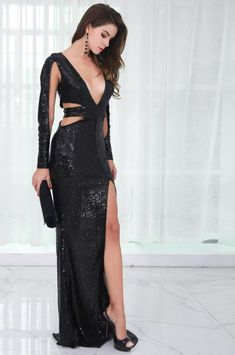 Black Sequin High Split Gown - Something she likes Sequin Evening Dresses, Sequin Gown, Evening Gowns, Prom Dresses, Formal Dresses, Sheath Dresses, Sheer Dress, Dress Up, Online Clothing Boutiques