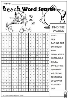 awesome Beach Word Search