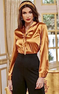 Sexy Blouse, Blouse And Skirt, Satin Top, Silk Satin, Pretty Pictures, Pretty Pics, Satin Blouses, Blouses For Women, Sexy Women