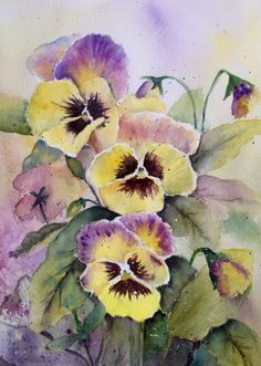 Pansies- Childhood memories--Watercolor on paper by Mahjabin GG