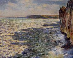 Acheter Tableau 'ondes et rocks à `pourville`' de Claude Monet - Achat d'une reproduction sur toile peinte à la main , Reproduction peinture, copie de tableau, reproduction d'oeuvres d'art sur toile