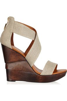 Diane von Furstenberg Opal linen wedge sandals $295