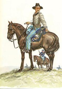 1.- Officer  and Men,7th U.S. Cavalry,1876.  -Las guerras indias-1890 (dibujado por Philip Katcher )
