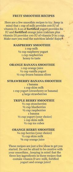 Real Weight Loss - Fruit Smoothie Recipes