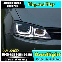 534.46$  Buy here - http://ali0p8.worldwells.pw/go.php?t=32657269662 - car styling For Volkswagen Jetta headlights U angel eyes DRL 2012-2015 For Sagitar LED light bar DRL Q5 bi xenon lens h7 xenon 534.46$