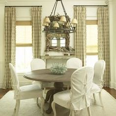 Kitchen Chair Slipcovers - Home Furniture Design Cottage Dining Rooms, Farmhouse Dining Chairs, White Dining Chairs, Dining Room Chairs, Dining Room Furniture, Living Room, Kitchen Chairs, Kitchen Redo, Office Chairs