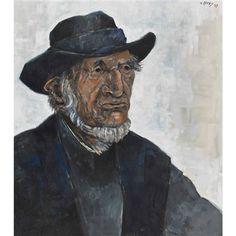 Porträt eines alten Mannes mit Hut by Walter Krebs