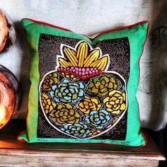Sacred Heart Mexican Folk Heart Pillow Available at Barrio Antiguo Houston Texas 77007 (713)8802105