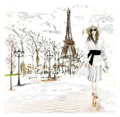"""Walking in Paris"" by oleahg ❤ liked on Polyvore featuring art"
