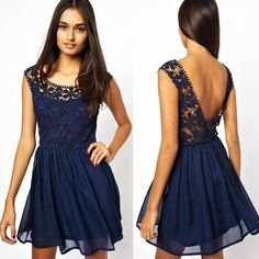 Plus Size Cocktail Dresses Cheap Dark Navy Lace Chiffon Backless Casual Dresses A Line Scoop Mini Short Party Prom Cocktail Street Gowns 2015 Valentine'S Day Club Dress Spring Cocktail Dresses From Bridal_mall, $73.3| Dhgate.Com