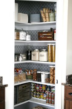Organization tips for a Kitchen pantry makeover. Jars and containers for the pantry space. house of smiths pantry. Like the wallpaper/contact paper on the back wall. Kitchen Pantry, New Kitchen, Kitchen Decor, Kitchen Design, Pantry Design, Awesome Kitchen, Kitchen Ideas, Kitchen Hacks, Pantry Room