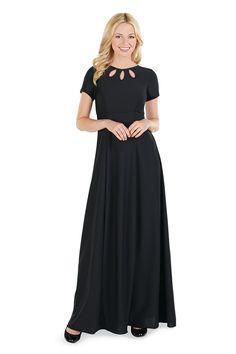 Short sleeve, crepe dress with a triple keyhole accented bodice and floor length skirt. Choir Dresses, Concert Dresses, Formal Wear, Formal Dresses, Crepe Dress, Dress Codes, Teen Fashion, Fashion Dresses, Short Sleeve Dresses