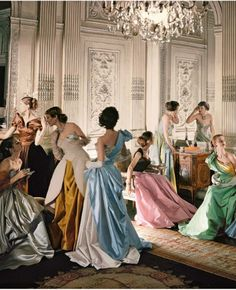 A Cecil Beaton Photo of models in Charles James gowns for American Vogue, 1948.