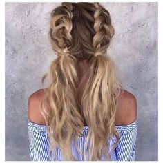 Two tied messy French-braided pigtails— love the wavy, texturized... ❤ liked on Polyvore featuring hair
