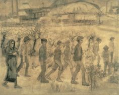 Did you know, in August 1880 Vincent van Gogh decided to become an artist? This is a sketch he send his brother on 20 August 1880.  Full letter: http://vangoghletters.org/vg/letters/let156/letter.html  Image: Vincent van Gogh, Miners going to the mine, 1880, Kröller Müller Museum, Otterlo