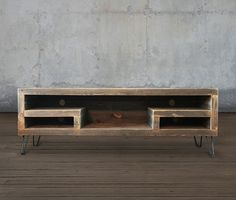 Mid Century Modern Reclaimed Wood Media Console, TV Stand, Credenza with Wood Slat Doors Wood Slats, Wood Doors, Wood Pallets, Reclaimed Wood Media Console, Tv Wall Cabinets, Rustic Shelves, Wooden Shelves, Wall Mounted Tv, Barn Wood