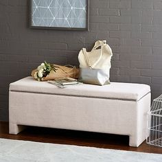 "MAYBE Master Bed if King size can still face bed - West Elm: Nailhead Upholstered Storage Bench 41""w x 16""d x 19""h."