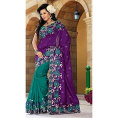 Green & Purple Saree