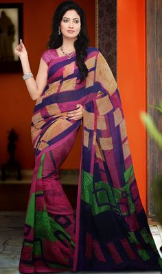 Sparkling Fuchsia & Navy Blue Printed Saree Ravishing Attire To Enhance Your Beauty. Make An Adorable Statement In This Smashy Fuchsia & Navy Blue Faux Georgette Saree. The Printed Motifs Work On Attire Personifies The Entire Appearance.Comes with a matching stitched round neck blouse with 6 inches sleeves .  #HandBlockPrintedSarees #LatestPrintedIndianSarees