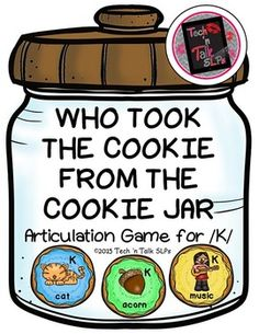 Who took your cookies? Find out in this fun /K/ articulation practice game.