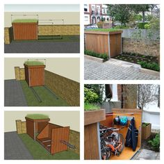 DIY Build A Bike Storage Shack Biking is one of the fun ways for workout to keep you healthy. Biking could be also a great way to Outdoor Bike Storage, Patio Storage, Bicycle Storage, Outside Bike Storage, Garage Storage, Garage Velo, Diy Garage, Bike Storage Options, Storage Ideas