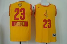 Cleveland Cavaliers #23 LeBron James Yellow 2014-2015 Christmas Day Jerseys  2015 NBA Finals Patch