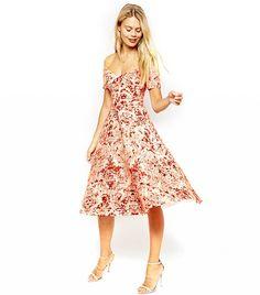Porcelain Print Bardot Midi Prom Dress