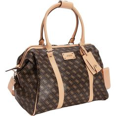 GUESS Travel Logo Affair Doctor Tote Luggage Tote ($85) ❤ liked on Polyvore featuring bags, brown, luggage, luggage totes and satchels, satchel handbags, handle bag, guess bags, brown satchel bag and satchel bags - handbag, large, over the shoulder, celine, coin, crossbody purse *ad