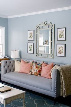 Lovely sofa, color, and Bungalow 5 mirror