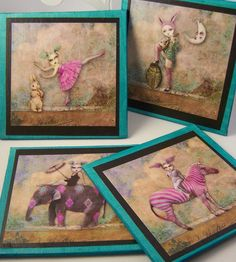 Unusual Ladies  set of 4 coasters by AtMirosHouse on Etsy, $16.00