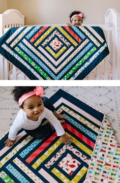 Cotton and Steel campfire quilt. This modern quilt pattern comes in king, queen, throw and baby quilt sizes.