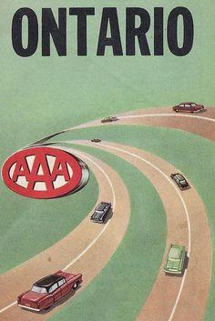 Vintage Mid Century AAA Road Map - Ontario, Canada by 20thCenturyCool on Etsy