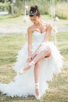 Ballet-inspired wedding dress | Cascade by Suzanne Neville #bridal #fashion